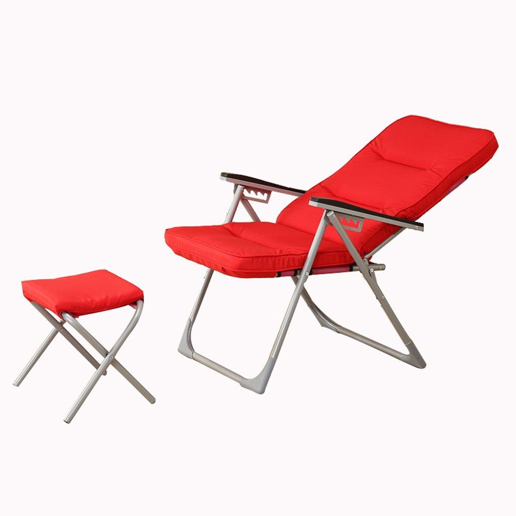 ムーンチェアレジャーキャンプ用椅子(カップホルダーなし)スチールフレーム折りたたみ式パドックポータブル (色 : Red)  Red B07HLMMCTS