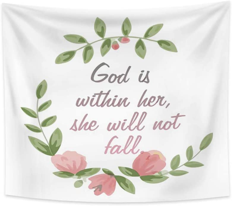 Renaiss 70.9x63.0 Inches Bible Verse Tapestry God is Within Her She Will Not Fall Flowers Plants Tapestries Wall Hanging Motivation Words Christian Faith Blanket for Bedroom Living Room Decor