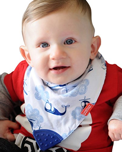 Nuby Reversible 2 Piece Teething Bib, Fire Engine, Blue Helicopter (Baby Initial Bib)