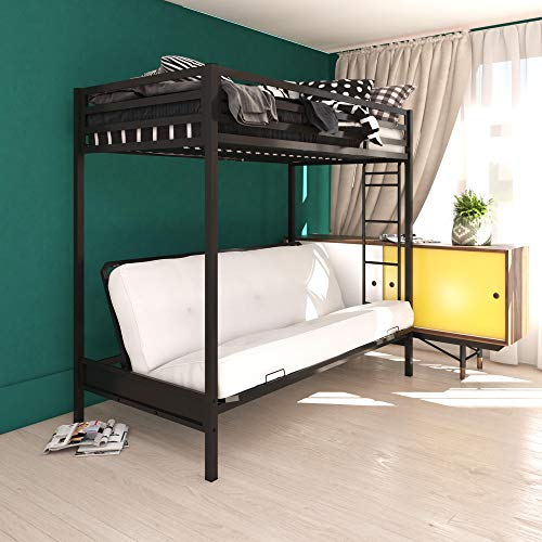 DHP Miles Twin over Futon Metal Ladder for Kids, Black Bunk Bed