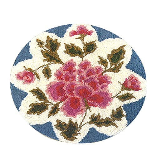 - SM SunniMix DIY Latch Hook Rug Patterns Florals Dogs Football Carpet Latch Hooking Kits - Rose Flower