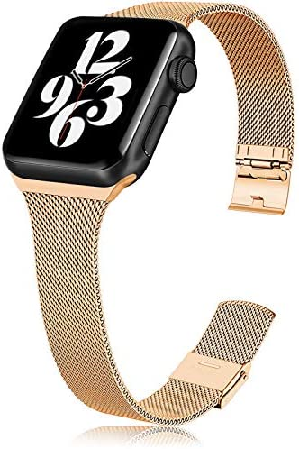 Metal Slim Band Compatible for Apple Watch 38mm 40mm 42mm 44mm, Stainless Steel Narrow Soft Replacement Wristband for iWatch Series 6 5 4 3 2 1 SE
