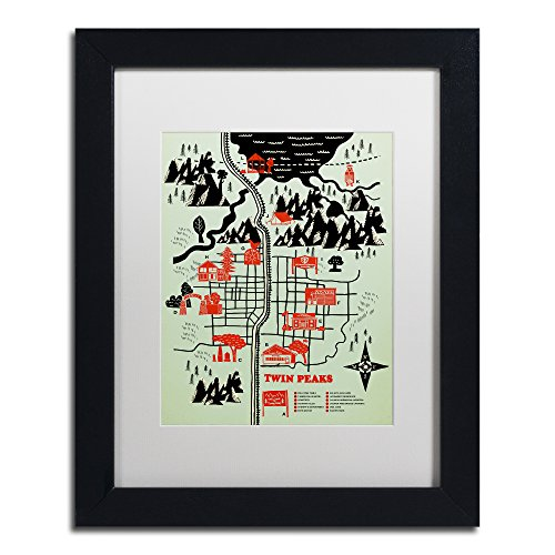 (Welcome To Twin Peaks by Robert Farkas, White Matte, Black Frame 11x14-Inch)
