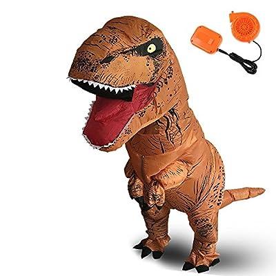Halloween Originals Dinosaur Costume Inflatable T-Rex Costume Adult Inflatable Costume Brown