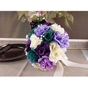 "Bridal Bouquet - 10"" - Gem Purple Lavender Ivory Rose with Baby Breath 100"