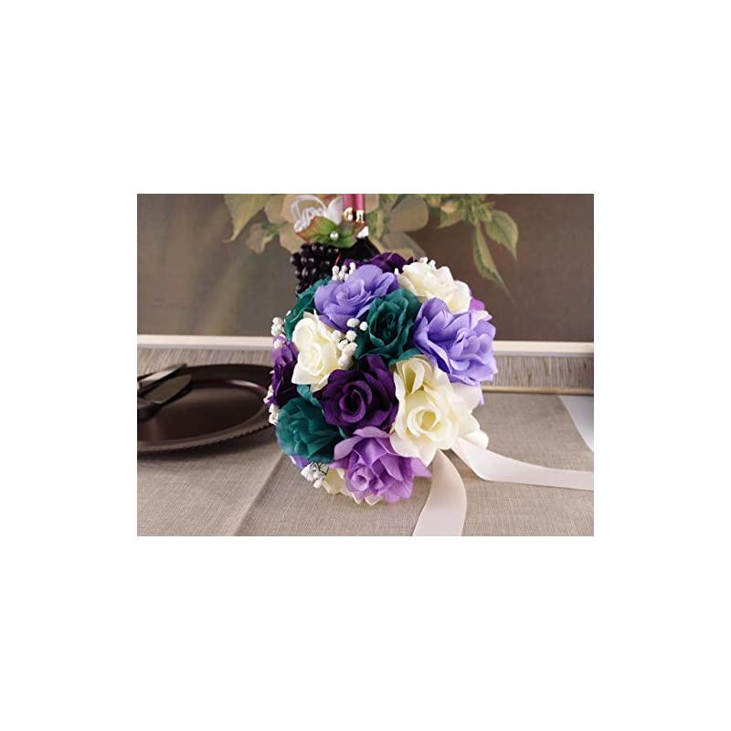 "silk flower arrangements angel isabella bridal bouquet - 10"" - gem purple lavender ivory rose with baby breath"