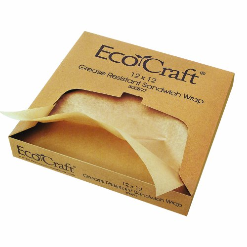 (EcoCraft 300897 NK1212 Natural Grease-Resistant Sandwich Paper Wrap and Liner, 12 x 12 Inches, Box of 1,000 (Pack of 5))
