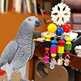 Borange Parrot Chewing Toys Parrot Knots Block Chew Toy with Bells Bird Wood Hanging Toys for Large and Medium Birds African Greys Eclectus Cockatiel Conure Cage Accessories (Style A)