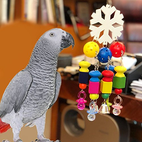 Borange Parrot Chewing Toys Parrot Knots Block Chew Toy with Bells Bird Wood Hanging Toys for Large and Medium Birds African Greys Eclectus Cockatiel Conure Cage Accessories (Style A) by Borange