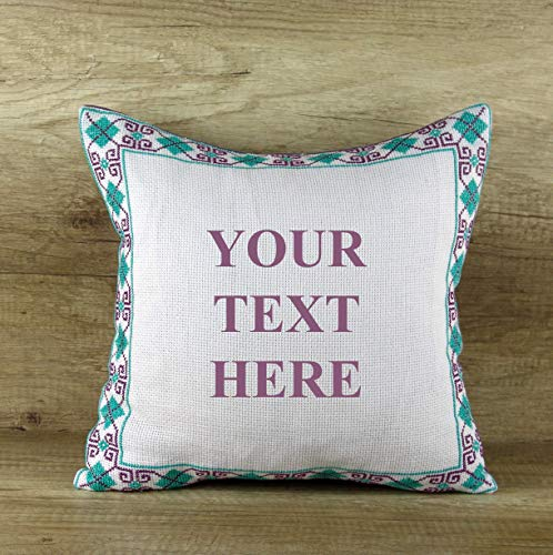 - Custom Text Pillow Cover Hand Embroidered Cushions Personalized Throw Pillows Turquoise Violet Cushion Cover Square Pillow Zippered Toss Covers Gift Idea for Grandma Mom Accent Handmade Decor