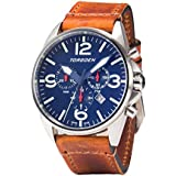 Torgoen T16 Blue Swiss Chronograph Pilot Watch | 44mm - Vintage Leather Strap …