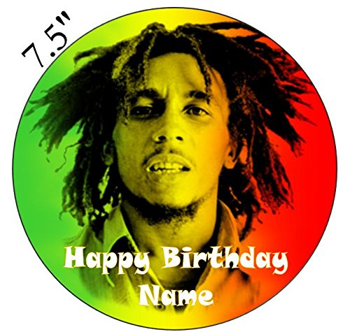 Bob Marley Inspired Edible Icing Cake Topper Precut - Personalise at the (Review Your Order) section