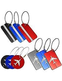 Pack de 9 etiquetas de equipaje, de metal de aluminio Bolsas de ID etiquetas para equipaje de viaje maletas