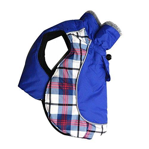 DroolingDog Dog Coats Winter Plaid Coat Warm Winter British Jacket Dog Coat for Medium Large Dogs, XXL, Blue