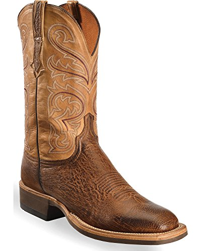Lucchese Men's Handmade Light Lance Smooth Ostrich Boot Square Toe Lt Brown 9 -