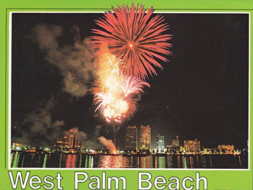 COL-UN06 COLLECTIBLE WEST PALM BEACH ... A fireworks display with the city of West Palm Beach in the background POSTCARD.. LIKE NEW CONDITION)) from Hibiscus Express