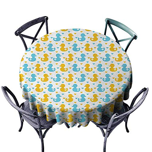HCCJLCKS Elegant Waterproof Spillproof Polyester Fabric Table Cover Rubber Duck Baby Ducklings Pattern with Little Hearts Love Animals Print Nursery Room Excellent Durability D55 Blue and Yellow