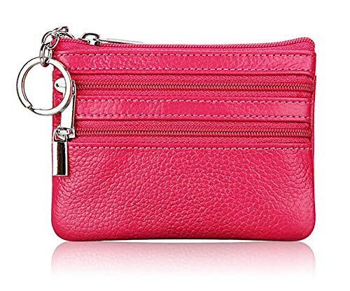 (ETIAL Real Leather Coin Purses for Women Men Dual Zipper Wallet Coin Pouch Hot Pink)