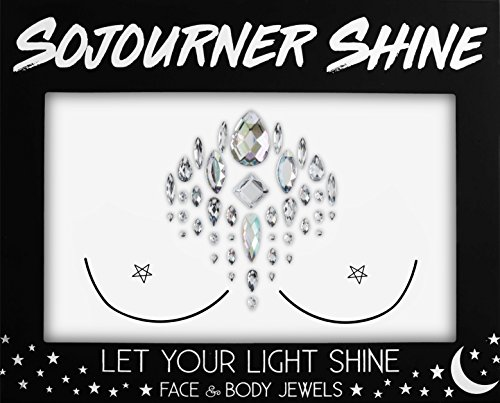 (Face Jewels Glitter Gems Rhinestones – Eye Body Jewels Gems | Rhinestone Stickers | Body Glitter Festival Rave & Party Accessories by SoJourner (Ice)