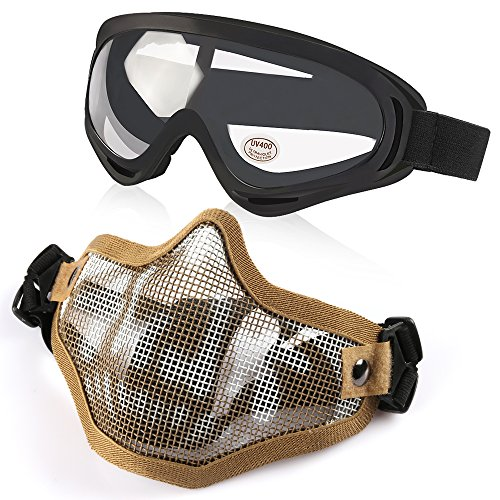 Vanmor Airsoft Mask Half Face Mesh Mask with UV400 Goggles for Hunting Shooting Paintball (Tan Mask Set) ()
