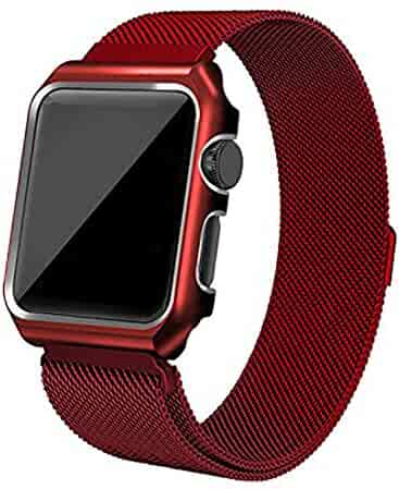 Apple Watch Band, Rerii Magnetic, Milanese, Mesh Stainless Steel, Replacement Band with Metal Protective Case for Apple Watch Series 3 / 2 / 1, Sport & Edition 38mm