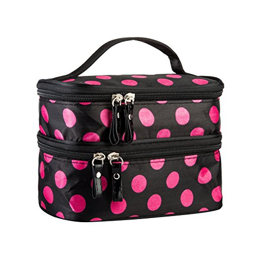 Cosmetic Bag MakeUp Case Double Layer Dot Pattern Portable Waterproof Wear Resistance Durable With 2 Zipper Holder With Mirror Travel Toiletry Bag Organizer (Black Rose) Dot Pattern