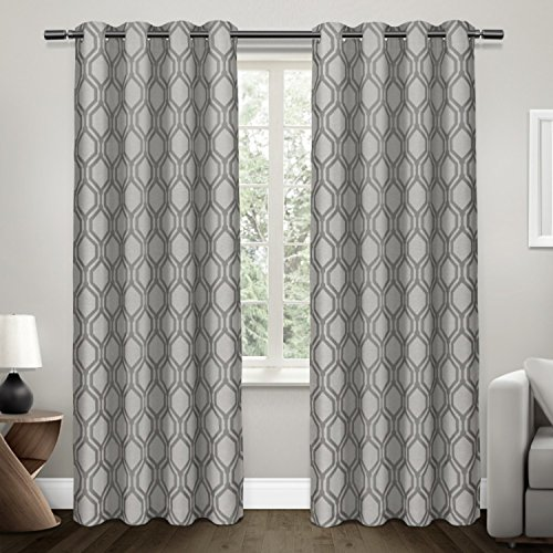 Price comparison product image Exclusive Home Domino Heavyweight Jacquard Linen Blackout Window Curtain Panel Pair with Grommet Top 54x84 Black Pearl 2 Piece
