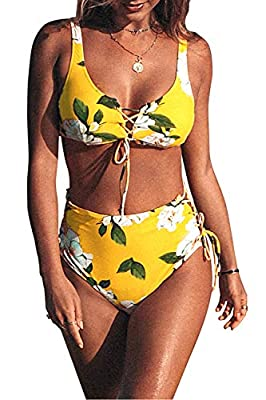 CUPSHE Women's Sunny Floral Lace up High-Waisted Bikini