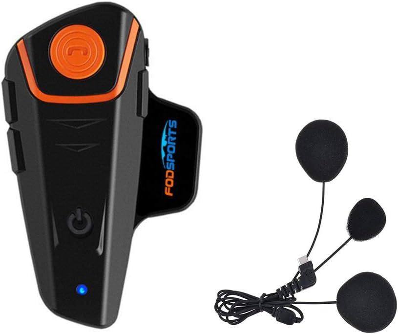 Fodsports BT-S2 Casco de Motocicleta con micrófono Impermeable Bluetooth Sistema de comunicación con 1000 m, GPS, Radio FM, Reproductor MP3, dúplex Completo, Manos Libres (1 Piece of Soft Cable)