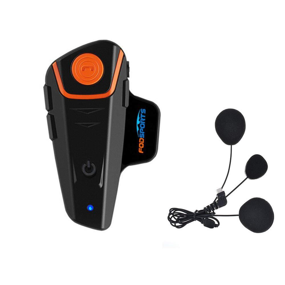 Fodsports BT-S2 Casco de Motocicleta con micrófono Impermeable Bluetooth Sistema de comunicación con 1000 m, GPS, Radio FM, Reproductor MP3, dúplex ...