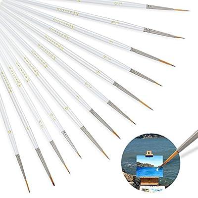 Paint Brushes Set 12Pcs Xpassion Fine Paintbrushes for Miniatures Art Painting - Acrylic Watercolor Oil