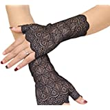 Gorse Lace Gloves Fingerless Gloves UV Protection Prom Party Driving Wedding 01 (Black)