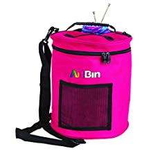 ArtBin 6805SA Yarn Drum Round Knitting and Crochet Tote Bag, Raspberry