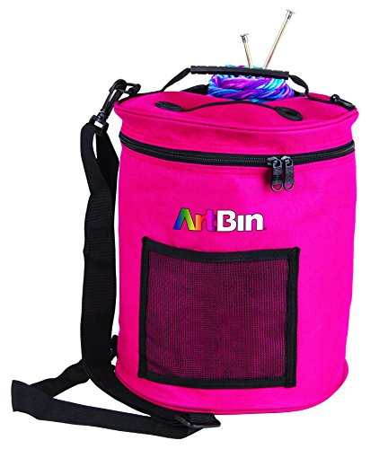 ArtBin Yarn Drum Round Raspberry Knitting and Crochet Tote Bag, 6805SA