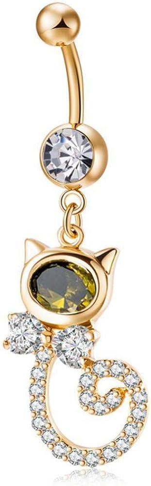 Anillo de ombligo de oro para mujer, decoración de piedras preciosas con barra de acero inoxidable, diseño de zorro