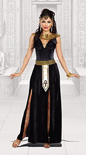 Dreamgirl Women's Exquisite Cleopatra Costume, Black/Gold, Large