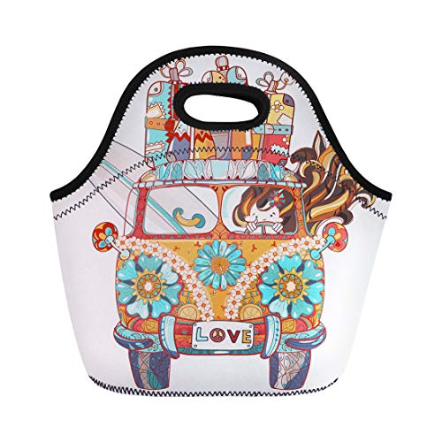 - Semtomn Lunch Tote Bag Doodle Outline Retro Bus Travel Decorated Ornaments Front View Reusable Neoprene Insulated Thermal Outdoor Picnic Lunchbox for Men Women