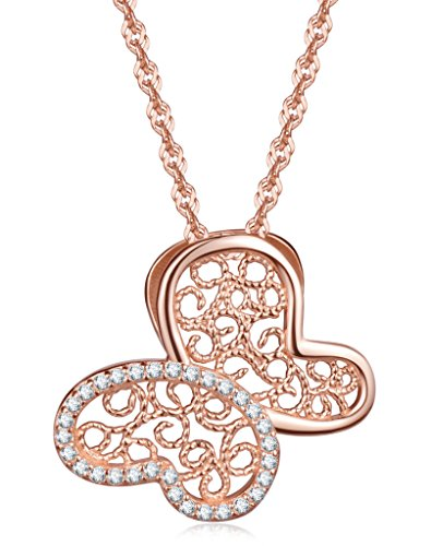 Infinite U Girl's Butterfly Pendant Necklace 925 Sterling Silver Cubic Zirconia,Rose Gold (Grandma Halloween Costume Ideas)