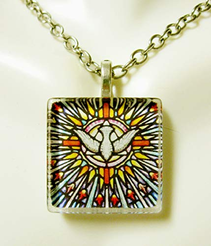 Holy spirit stained glass window pendant - GP02-077