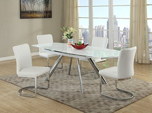 Milan ALIYANA-5PC Aliyana 5 Piece Self-Storing Extension Dining Set with White Chairs - Cantilever Leg Desk