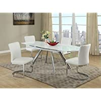 Milan Aliyana-5PC Aliyana 5 Piece Self-Storing Extension Dining Set with White Chairs