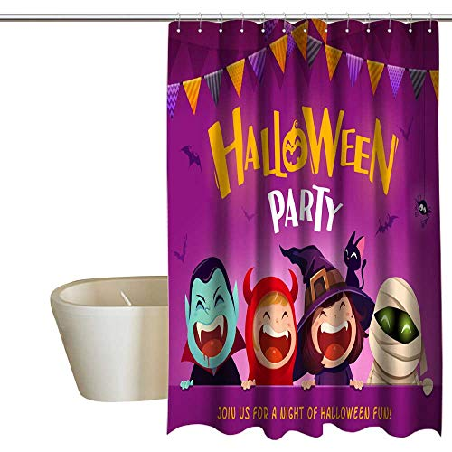 Kingdle Shower Curtains Digital Printing Halloween Party Group of Kids in Halloween Costume with Big Signboard Satin Fabric Bathroom Washable 72