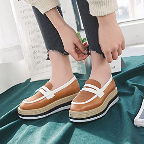 Oxford Wingtips Oxfords Square Brown On Platform Dress Toe Women's High Brogue Vintage Shoes Heels Slip GIY COtqw4I