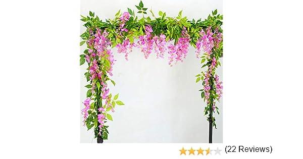 Lanyifang 2pcs Flores Artificiales de Seda Wisteria Garland Artificial Wisteria Vine Flor Colgante para Decoración de Hogar Jardín al Aire Libre Ceremonia Boda Floral Decor (Rosa): Amazon.es: Hogar