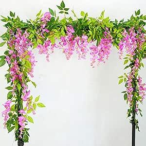 Lanyifang 2pcs Flores Artificiales de Seda Wisteria Garland ...