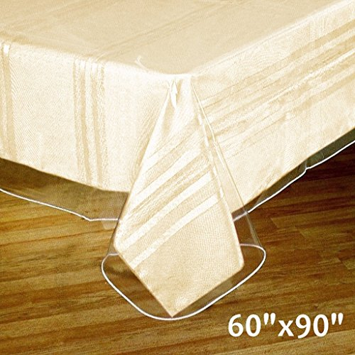 "Efavormart 60""x90"" Clear Vinyl Tablecloth Protector Eco-Friendly Cover for Picnic Banquet"