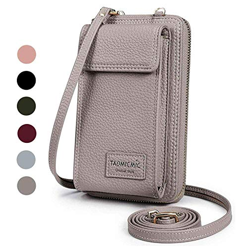 Women Purse Leather Cellphone Holster Wallet Case Mini Small Crossbody Shoulder Bag Messenger Pouch Ladies Handbag Clutch Phone Pockets for iPhone 8 Plus Xs Max X Xr 7/6 Plus Samsung S10+ (Grey) (Difference Between Iphone X And Iphone 8)