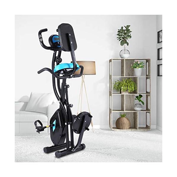 Profun Vélo de Fitness Pliable Vélo d'Appartement avec Disque de Sport pour Les Reins, Vélo d'exercice à l'Intérieur 10 Niveaux de Résistance Magnétique& Siège Large et Confortable accessoires de fitness [tag]