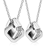 AnnroZ Men Women Stainless Steel Couple Pendant Necklace Interlocked Square Ring CZ Inlay 1.9X1.9CM