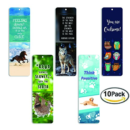 Creanoso Animal Bookmarks (10 Pack) - Dog Horse Owl Sloth Wolf Bookmarks for Books - for Men Women Boys Girls Teens Kids - Reading Bookmarks